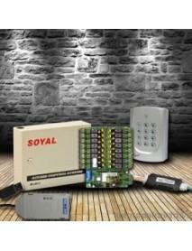 Bộ sản phẩm hệ thống kiểm soát phân tầng thang máy dùng thẻ từ Soyal AR-401RO-16 và AR-721H